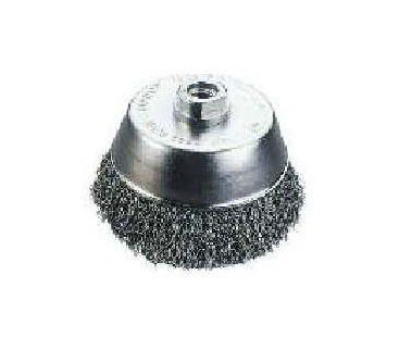 CUP BRUSH, CRIMPED WIRE silvery